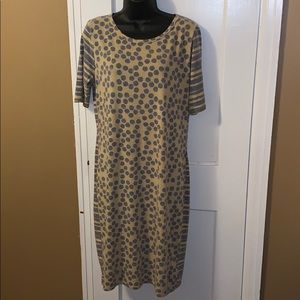 LuLaRoe Dress - Polka Dot / Striped - Size Large